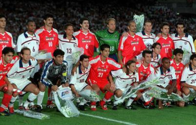 Lyon, June 21st, 1998 - American and Iranian players pose before their historic game at the 1998 World Cup in France, which Iran went on to win 2-1