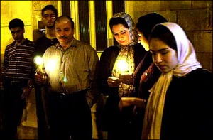 Tehran, Iran - 2001 - Mohsen Sq, Tehran - Candlelit vigil for 911 victims 12 - time.com - photo by H. Sarbakhshin (AP)