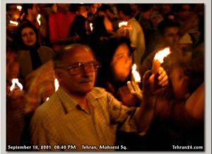 Tehran, Iran - 2001 - Mohsen Sq, Tehran - Candlelit vigil for 911 victims 2 - Tehran24.com - Photo by C. Moghtader