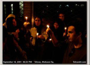 Tehran, Iran - 2001 - Mohsen Sq, Tehran - Candlelit vigil for 911 victims 4 - Tehran24.com - Photo by C. Moghtader