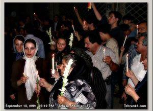 Tehran, Iran - 2001 - Mohsen Sq, Tehran - Candlelit vigil for 911 victims 8 - Tehran24.com - Photo by C. Moghtader