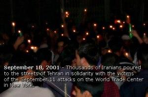Tehran, Iran - 2001 - Mohsen Sq, Tehran - Candlelit vigil for 911 victims 9 - Tehran24.com - Photo by C. Moghtader