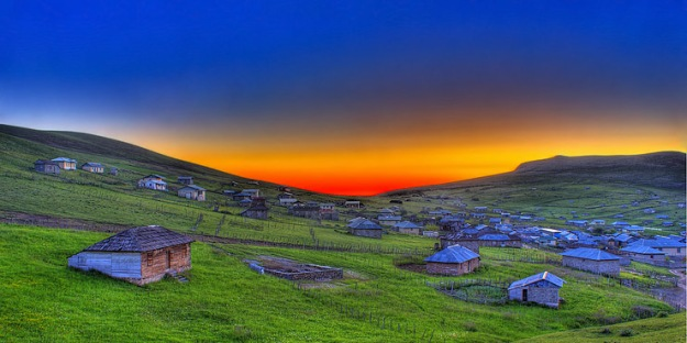 Gilan, Iran - Green Valleys - Village at Dawn [Click to enlarge]