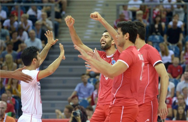 FIVB Volleyball World Championships - Iranian Players celebrating important win