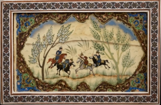 Original oriental polo painting in khatam frame. Photo credit iranreview.org