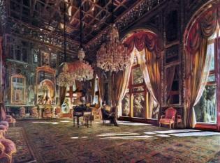 Qajarid era painting, Iran - Nasereddin Shah in the mirror hall. Image credit iranreview.org