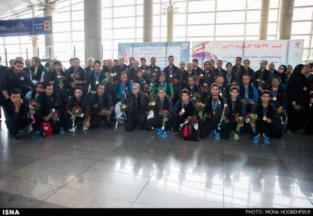 2014 Asian Para Games - Athletes returning from Incheon at Tehran Airport