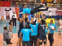 Iranian team members celebrate their victory