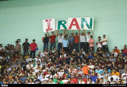 Iranian supporters in Manama, Bahrein, at the 2014 Asian junior men's volleyball championship