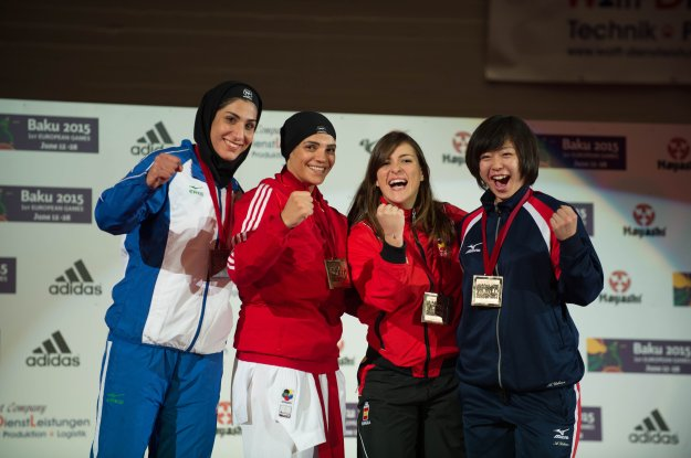 2014 Karate World Championship - Female Kumite 68kg - Podium - Egypt, Iran (Silver), Spain, Japan