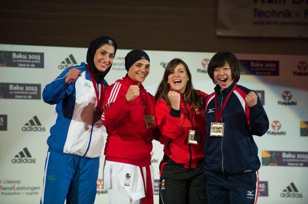 2014 Karate World Championship - Female Kumite 68kg - Podium - Egypt, Iran (Silver), Spain, Japan
