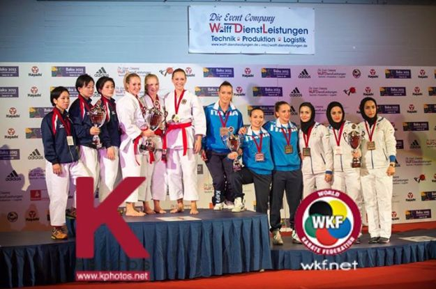 2014 Karate World Championship - Team Female Kata - Podium - Germany, Japan, Italy, Iran (Bronze)