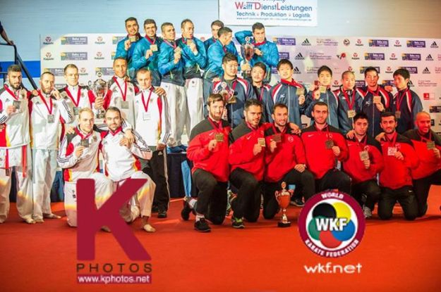 2014 Karate World Championship - Team Men Kumite - Podium - Iran (Gold), Germany, Turkey, Japan