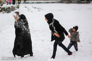 Iran, Kerman Province, Kerman City Winter Snow Snowball 12