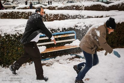 Iran, Kerman Province, Kerman City Winter Snow Snowball 15
