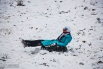 Iran, North Khorasan province, Mahnan village near Bojnourd Families Sliding on Snow 01