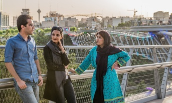 From left to right: Mohammad Noresi (Hamijoo), Nazanin Daneshvar (Takhfifan) and Tabassom Latifi (Mamanpaz) at Tabiat Bridge in Tehran. Photographed by Arash Ashourinia for Observer