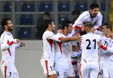 2015 Iran-Chile - football (soccer), friendly FIFA match in Austria - Players celebrating