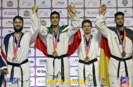 Taekwondo - 2015 WTF World Taekwondo Championships - Chelyabinsk, Russia - Men '80kg - Khobadakhshi (G), Sansum (S), Cook (B) and Guelec (B)