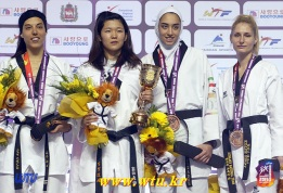 Taekwondo - 2015 WTF World Taekwondo Championships - Chelyabinsk, Russia - Women '57kg - Hamada (G), Calvo Gomez (S), Alizadeh (B) and Kotsis (B)