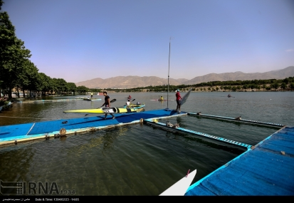 Tehran, Iran - Iran's rowing team training at Lake Azad Sports Complex 2