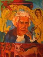 Portrait of Ahmad Shamlou, Iran's most celebrated contemporary poet