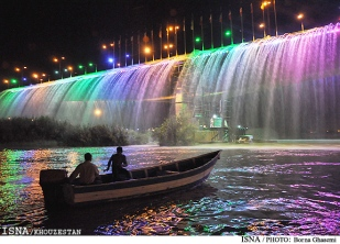 Seventh Bridge or Bridge of Dialogue among Civilizations in Ahvaz, Iran - On weekends you can enjoy the rainbow waterfall.