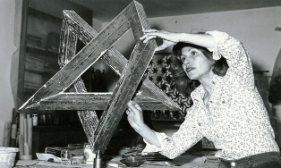 Monir Shahroudy Farmanfarmaian in her studio working on Heptagon Star, Tehran, 1975 Photo: Courtesy of the artist and The Third Line, Dubai