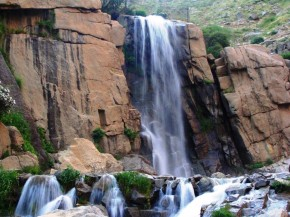 Hamedan, Iran - Ganjnameh's waterfall next to the cuneiform inscriptions of Darius and Xerxes - 2 - Photo credits Panoramio's user Mahmoud Eskandari