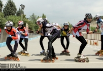 Iranian women athletes during an inline speed skating competition in summer 2015