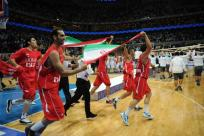 Basketball William Jones Cup 2015 Iran Champion - celebrating win over Russia
