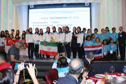 2015 Asian Canoe Polo Championship - Medal Ceremony - U21 Women - Iran (Gold), Singapore (Silver), Thailand (Bronze)