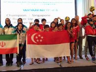 2015 Asian Canoe Polo Championship - Medal Ceremony - Women - Singapore (Gold), Iran (Silver), Chinese Taipei (Bronze)