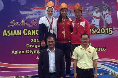 2015 Asian Canoe Sprint Championships - Medal Ceremony - Women C1 500m - Vietnam (Gold), Iran (Silver), Singapore (Bronze)