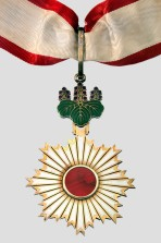 Japan's Order of the Rising Sun - 3rd Class - Gold Rays with Neck Ribbon