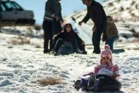 Winter joys - Snow sliding in Alborz, Iran (Photo credit: MEHR News Agency)
