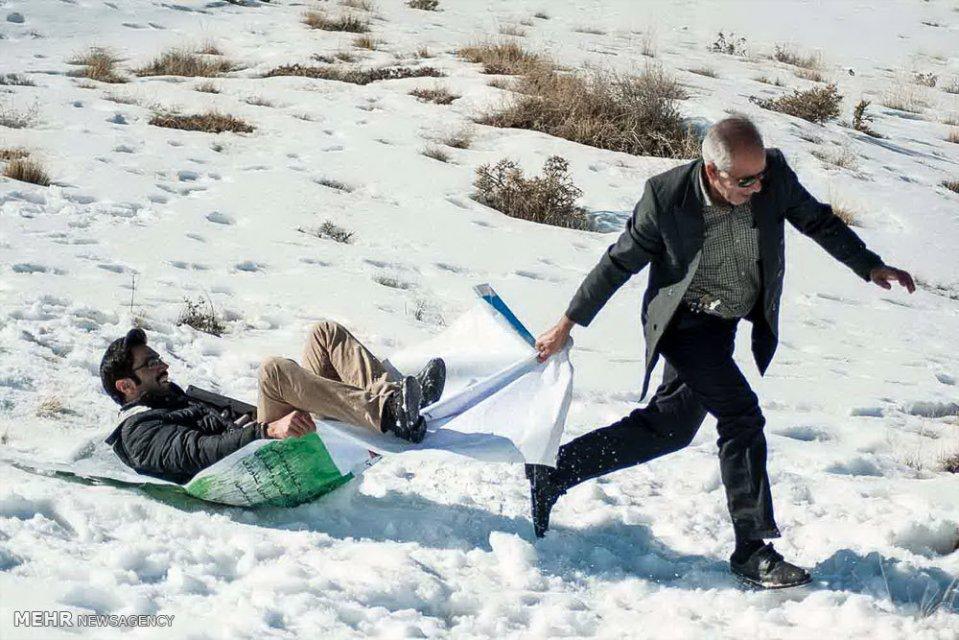 Winter joys - Snow sliding in Alborz, Iran (Photo credit: MEHR News Agency)