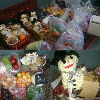 Food organized by Payan-e Karton-khabi for Yalda, the longest night of the year. (Photo credit: Instagram @payane_kartonkhabi)
