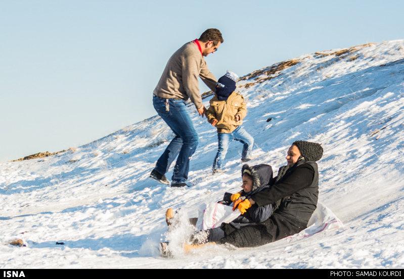 Winter joys - Snow sliding in Iran (Photo credit: Samad Kourdi, ISNA)