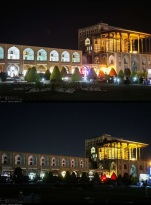 Naqsh-e Jahan Square (Ali Qapu) in Isfahan, Iran - Earth Hour 2016 - Photo credit: IRNA