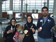 FISU World University Chess Championship 2016 - Team award - WIM Ghazal Hakimifard (silver medalist), WGM Mitra Hejazipour and IM Amirreza Pourramezanali back in Iran