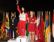 FISU World University Chess Championship 2016 - WGM Ni Shiqun of China (center), silver medalist WIM Ghazal Hakimifard of Iran (left) and bronze medalist WIM Anna Warakomska of Poland