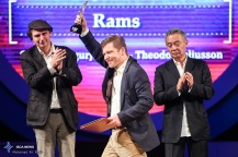 """Best Actor Silver Simorgh was shared by Icelandic actors Sigurður Sigurjónsson and Theódór Júlíusson for ther role in """"Rams"""" at the 34th Fajr International Film Festival held at Tehran's Vahdat Hall, Iran (Photo credit: Ali Najib / ISCA News)"""