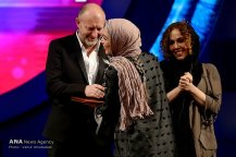 """Best Actress Silver Simorgh winner Pantea Panahiha for her role in """"Breath"""" by Narges Abyar at the 34th Fajr International Film Festival held at Tehran's Vahdat Hall, Iran (Photo credit: Vahid Khodadi / Azad News Agency)"""