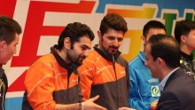 2016 ITTF Asia Olympic Qualification, Hong Kong - Award ceremony - Men - Iranian table tennis players Noushad and Nima Alamiyan secured Olympic spots for Rio 2016 01
