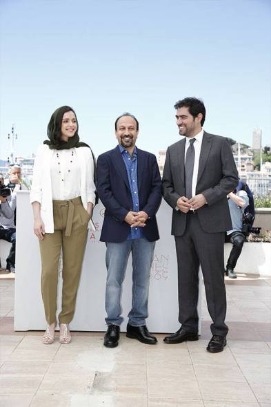 Iranian Film 'The Salesman' (Forushande) by Asghar Farhadi at Cannes 2016 - Photocall - Taraneh Alidoosti, Asghar Farhadi and Shahab Hosseini