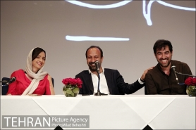 Press conference in Tehran after Cannes 2016 - Director Asghar Farhadi and actors Shahab Hosseini and Taraneh Alidoosti of Iranian film 'The Salesman' (Forushande) - 03