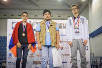 2016 World Youth U16 Chess Olympiad - Best players per board - Board 1 - Parham Maghsoodloo (gold, Iran), M. Nikitenko (silver, Belarus) and H. M. Martirosyan (bronze, Armenia)
