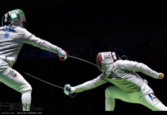 Rio 2016 - Fencing - Men's Sabre Individual - Mojtaba Abedini (Iran) and Vincent Anstett (France) - Olympic Games in Rio de Janeiro, Brazil - IRNA
