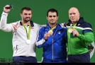 Rio 2016 - Weightlifting - 94kg - Gold Sohrab Moradi (Iran), Silver Vadzim Straltsou (Belarus), Bronze Aurimas Didzbalis (Lithuania) - (IRNA)